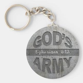 L'armée de Dieu - gris en métal de vers de bible Porte-clé Rond