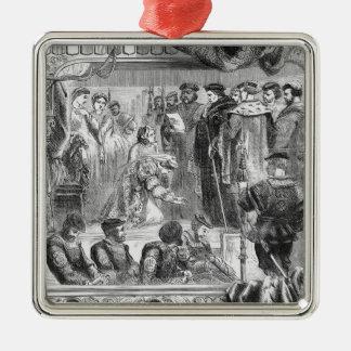 L'arrestation d'Anne Boleyn Ornement Carré Argenté