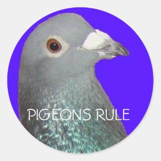 L'arrière - plan bleu principal de pigeon adhésifs ronds