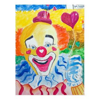 Larry riant la carte postale de clown