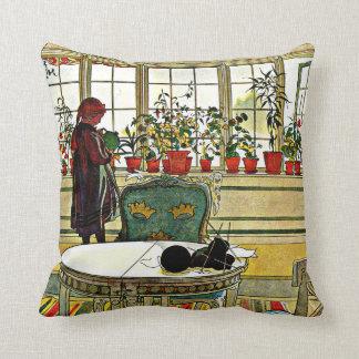 Larsson - fleurs sur le rebord de fenêtre oreiller
