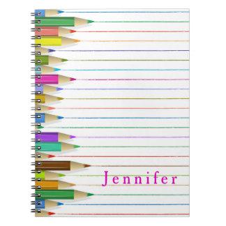 L'art coloré crayonne le carnet fait sur commande