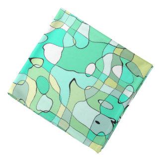 L'art d'abstraction contourne vert, jaune et le bandana