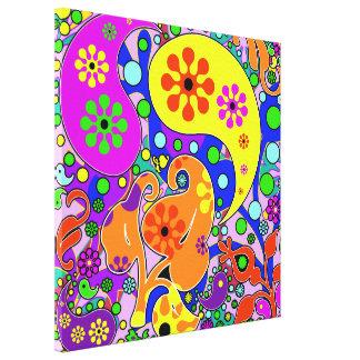 L'art de bruit coloré fleurit rétro Paisley Toiles
