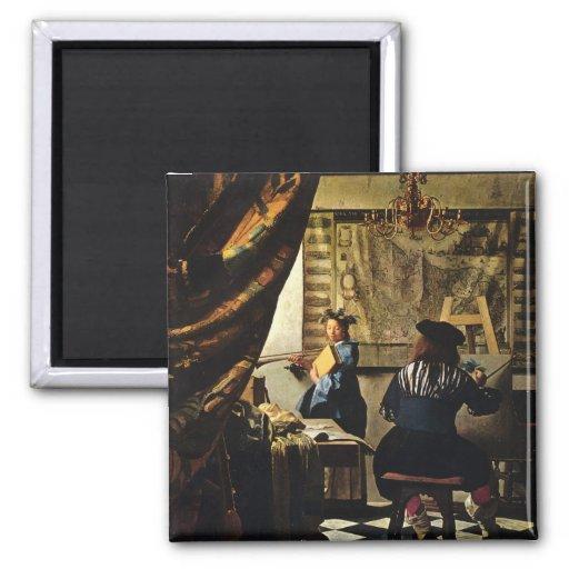 L'art de Johannes Vermeer de la peinture circa 166 Magnets