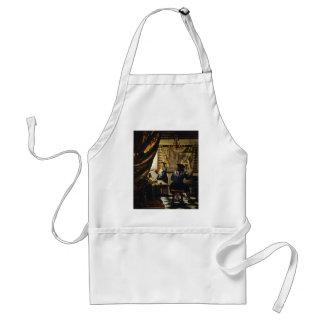L'art de Johannes Vermeer de la peinture circa 166 Tablier