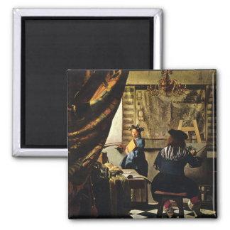 L'art de Johannes Vermeer de la peinture circa Magnet Carré