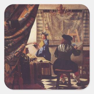 L'art de la peinture par Johannes Vermeer Autocollants Carrés