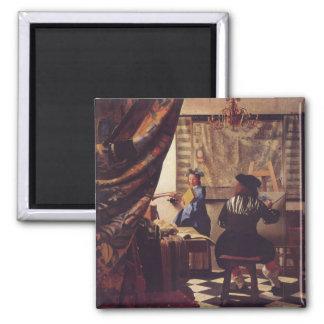 L'art de la peinture par Johannes Vermeer Magnet Carré