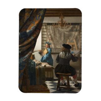 L'art de la peinture par Johannes Vermeer Magnets Rectangulaire