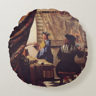 L'art de la peinture par Johannes Vermeer Coussin Rond