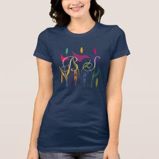 L'art floral abstrait lumineux ajoutent le T-shirt