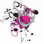 l'art gothique rose de vecteur de crâne et d'ancre photos en relief
