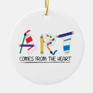 L'art vient du coeur ornement rond en céramique