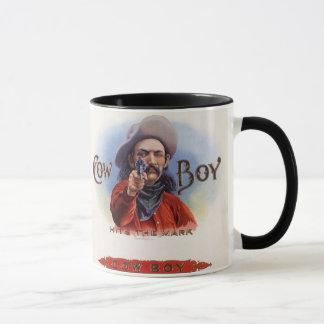 L'art vintage d'étiquette de cigare, cowboy frappe mug