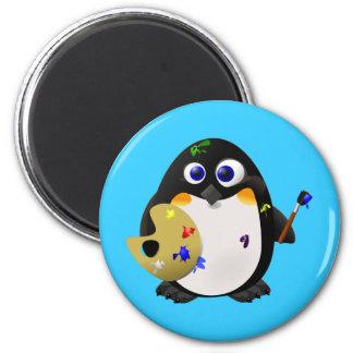 """""""L'artiste"""" -- Pingouin mignon de peintre Magnet Rond 8 Cm"""