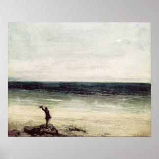 L'artiste sur le bord de la mer chez Palavas Posters