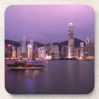 L'Asie, Chine, Hong Kong, horizon de ville et Dessous-de-verre