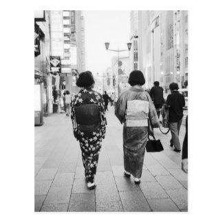L'Asie, Japon, Tokyo. Geishas sur le Ginza. Carte Postale