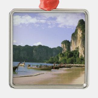 L'Asie, Thaïlande, Krabi. Plage occidentale de Ornement Carré Argenté