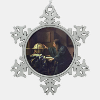 L'astronome par Johannes Vermeer Ornement Flocon De Neige Pewter
