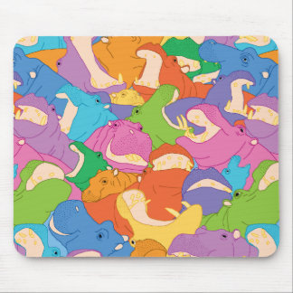 Laughing Hippos - bright colours Tapis De Souris
