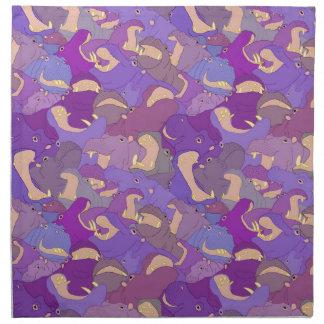 Laughing Hippos - purple Serviettes En Tissus