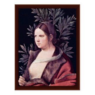 Laura (portrait d'une jeune femme) par Giorgione Carte Postale