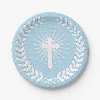 Laurier, croix, religieux bleu assiettes en papier