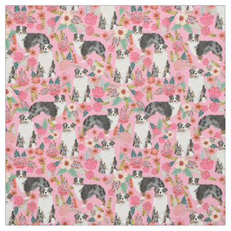 L'Australien Shepherds le motif floral de tissu