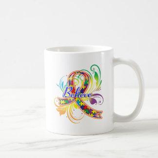 L'autisme croient le ruban de Flourish Tasse À Café