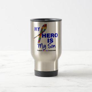 L'autisme mon héros est mon fils mug de voyage en acier inoxydable