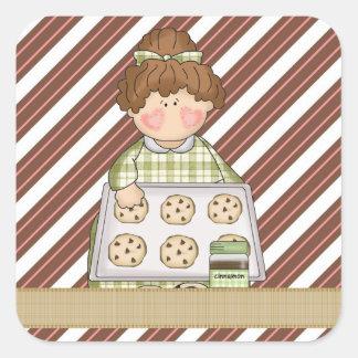 L'autocollant de biscuit de bande dessinée sticker carré