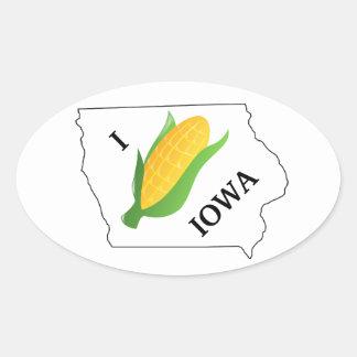 L'autocollant de maïs de l'Iowa bébête tournent du Sticker Ovale
