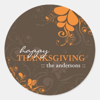 L'automne Deco de thanksgiving laisse des Sticker Rond
