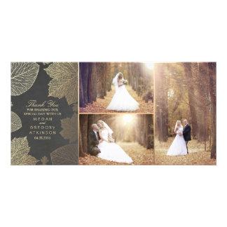 L'automne d'or laisse le Merci de photo de mariage Carte