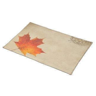 L'automne orange d'automne dans l'amour laisse le sets de table