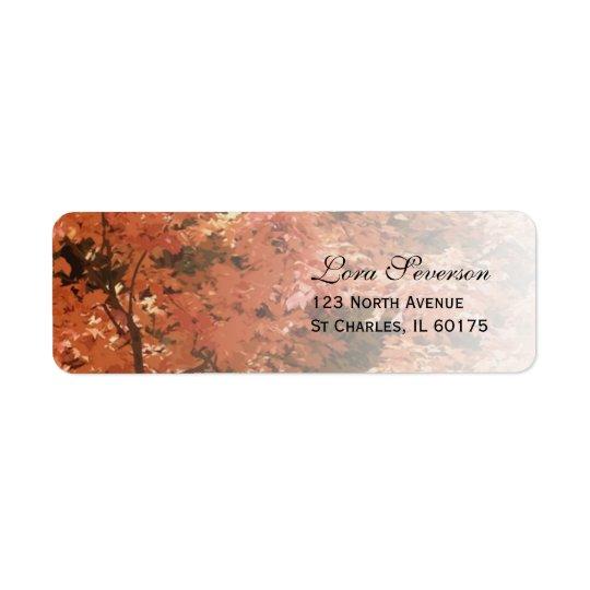 L'automne orange laisse l'adresse de retour étiquettes d'adresse retour