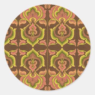 L'automne vintage exotique colore le jaune vert de sticker rond