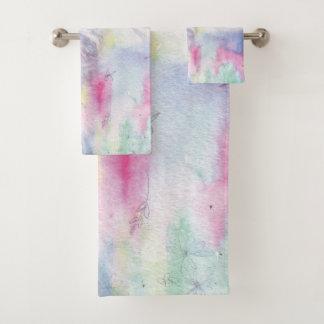 Lavage pourpre, rose, vert clair chic d'aquarelle