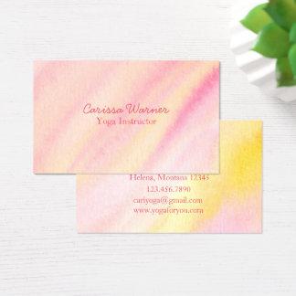 Lavage rose d'aquarelle de melon cartes de visite