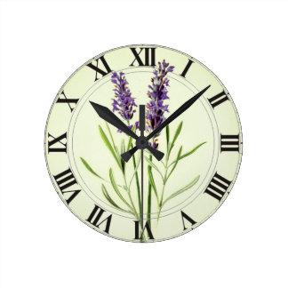 Lavande Clockface botanique vert Horloge Ronde