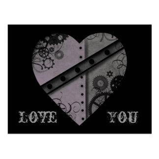 Lavande et amour gris de coeur de steampunk vous cartes postales