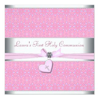 Lavande et communion de coeur de croix rose de carton d'invitation  13,33 cm