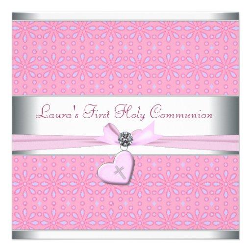 Lavande et communion de coeur de croix rose de ros invitations