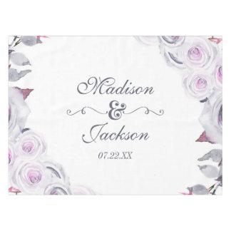 Lavande et monogramme floral gris de mariage de nappe
