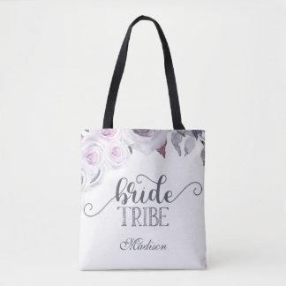 Lavande et monogramme floral gris de tribu de tote bag