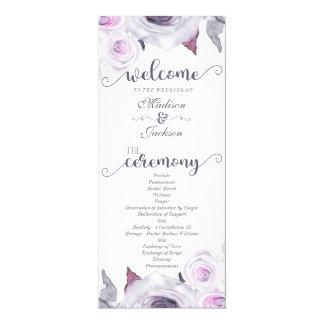 Lavande et programme floral gris de mariage de carton d'invitation  10,16 cm x 23,49 cm