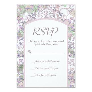 Lavande mariage damassé floral RSVP Carton D'invitation 8,89 Cm X 12,70 Cm