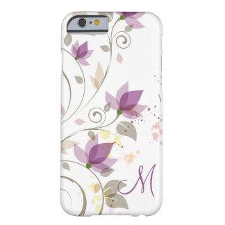 Lavande pourpre Girly Monogra floral Coque iPhone 6 Barely There
